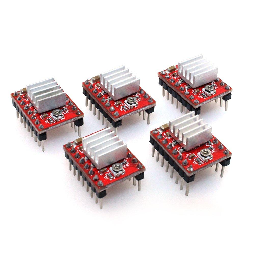 Green PoPprint 5Pcs Ramps1.4 A4988 Stepper Motor Driver with Heatsink for 3D Printer