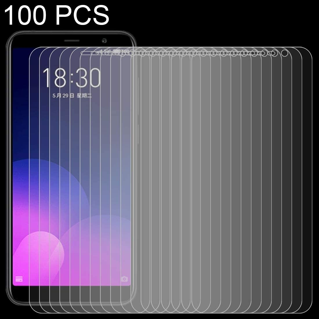 SHUHAN Tempered Glass Film 100 PCS 0.26mm 9H Surface Hardness 2.5D Full Screen Tempered Glass Film for Meizu M6T Mobile Phone Screen Protector