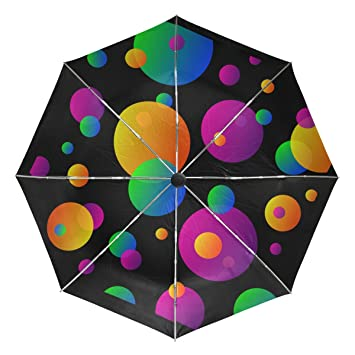 Bennigiry - Paraguas con lunares Clipart Colorfu circular, UV antiniebla, sombrilla ligera y elegante