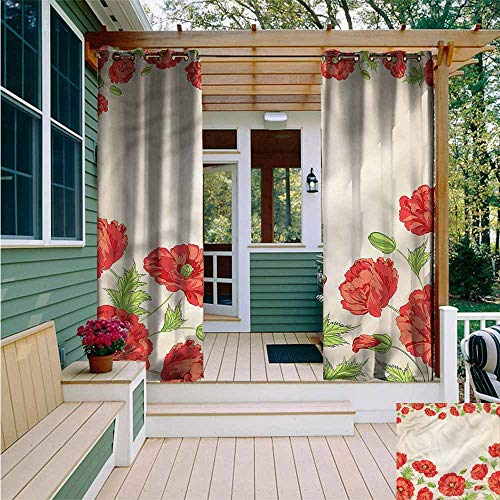 Beihai1Sun Outdoor Grommet Top Curtain Panel,Floral Card with Poppy Flowers,for Patio/Front Porch,W108x84L