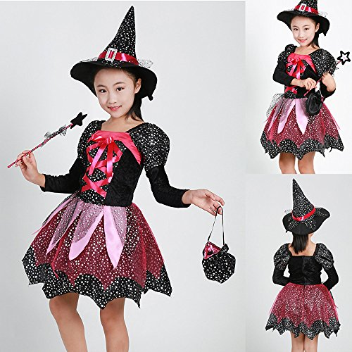 MOKO-PP Toddler Kids Baby Girls Halloween Clothes Costume Dress Party Dresses+Hat Outfit(black,160) -