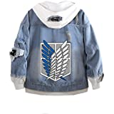 Classic Japanese Anime Attack on Titan AOT Wings of Freedom Denim Hoodie Fashion Casual Denim Jacket