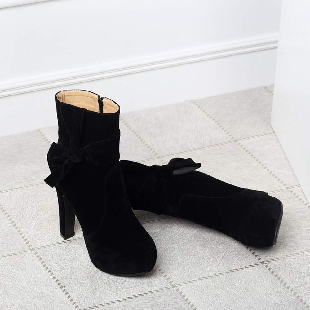 Anxinke Women Pointed Toe Faux Suede Bootie Side Zipper Block Heel Ankle Boots