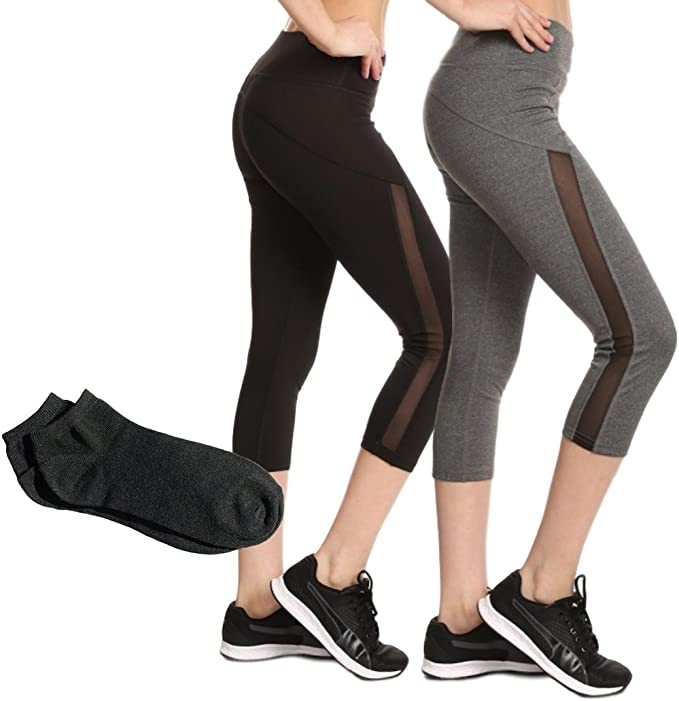 ShoSho Sport Leggings Tights Active Yoga Pilates Capri and Long Mesh Panel, Cut-Out Work-Out w/Free Socks