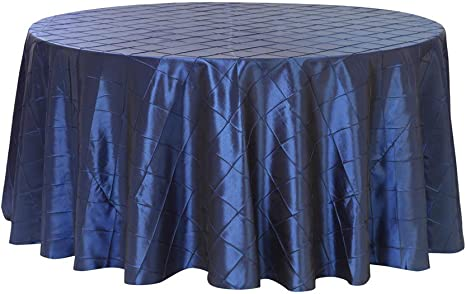 Amazon Com Your Chair Covers 132 Inch Pintuck Taffeta Round Tablecloth Navy Blue Round Table Linens For 6 Ft Round Tables Home Kitchen