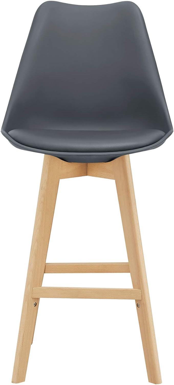 [en.casa] Bar Stool Set of 2 Pieces Bar Chairs Beechwood Legs PU Imitation Leather Upholstered Seat Plastic 105x48x58cm Beige Grey