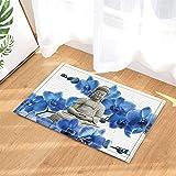 Spa Decor Watercolor Zen Yoga Blue Flower Backdrop Bath Rugs Non-Slip Doormat Floor Entryways Indoor Front Door Mat Kids Mat 15.7x23.6in Bathroom Accessories