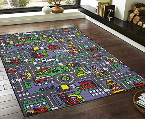 8x10 Kids Boys Children Toddler Playroom Rug Nursery Room Rug Bedroom Rug Fun Colorful ( City Map ) by LA Rug Linens (Image #1)