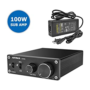 AIYIMA TPA3116D2 Subwoofer Amplifier Class D HiFi Mono Digital Audio Power Amplifier,Full-Frequency & Sub Bass Switchable Stereo Amplifier 100W Home Theater Amplifiers DC12-24V Mono Amp (Black)