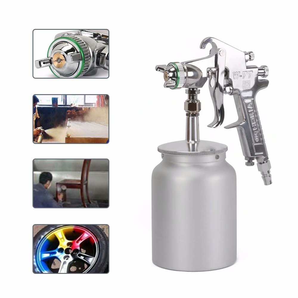 Nozzle 3.0mm W-77 Pneumatic Spray Gun Suction Feed Airbrush Air Tool for Automotive, Industrial, Marine and Wood Working 600cc Cup Pot