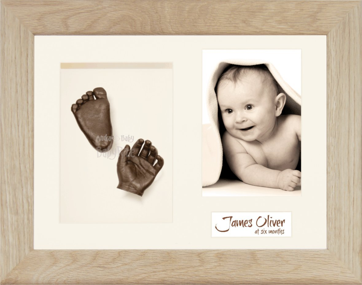 BabyRice 11.5 x 8.5-inch Baby Casting Kit, Solid Oak 3D Box Frame (Bronze Metallic) Anika-Baby 110.CRM3.B