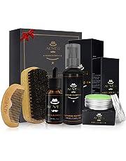 Blue-Yan Kit para el Cuidado de la Barba de los Hombres, 5 Piezas, Bigote, Aseo, Peinados, Peine y Cepillo para Barba, Aceite de Barba, Crema de Barba, Lavado de Barba
