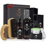 Colinsa Bartpflege-Geschenkset für Männer 5 Stück Bartpflege-Set Bart-Shampoo + Bartbürste + Bartkamm + Bartöl-Leave-in-Conditioner + Moustache-Balsam für Styling, Shaping & Growth