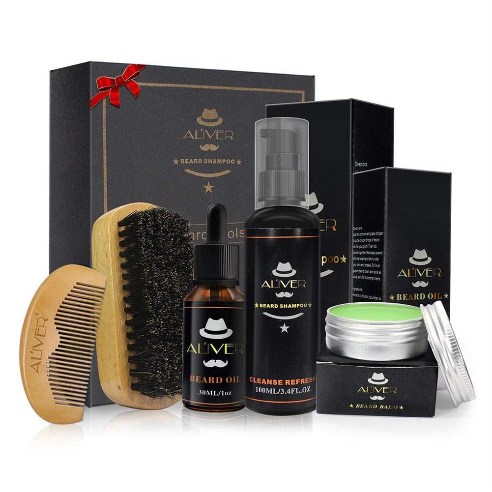 5pz Men Beard Care Kit, Beard Grooming kit–Pettine per barba barba barba shampoo + spazzola + + barba olio balsamo + baffi balsamo Moonlovey