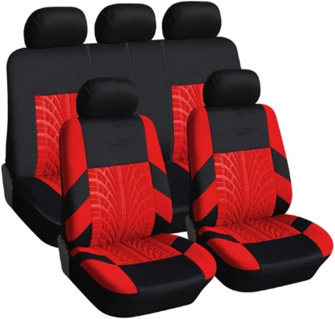 9PC UNIVERSAL LIGHT FULL CAR SEAT COVERS SET PROTECTORS RED WASHABLE NEW IN BAG