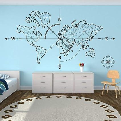 TYLPK Gran mapa del mundo Brújula Globo Etiqueta de la pared ...