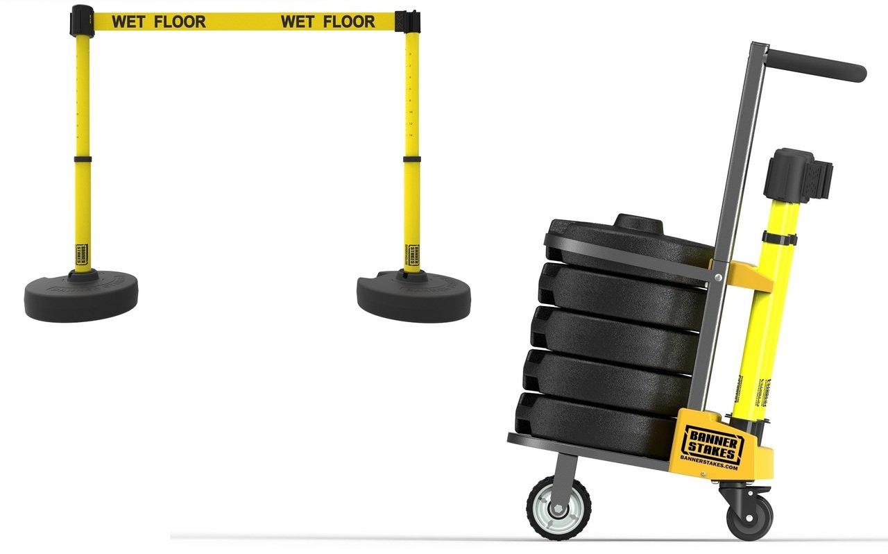 PLUS Cart Package, Yellow ''Wet Floor'' Banner PL4003