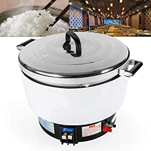 Commercial Rice Cooker 10L 50 Cup Large Capacity Pressure Ignition 2.8 Kpa 8000W Natural Gas Kitchen Pressure Rice Cooker for Restaurant Take Away Pub Hotel (US Stock)