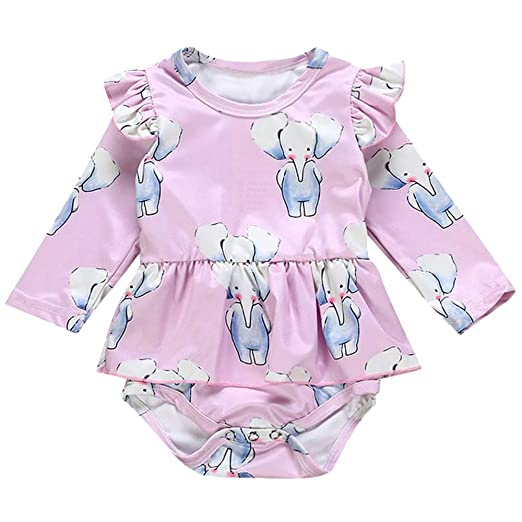 1a6d3d37142 Amazon.com  Hatoys Newborn Infant Baby Girls Long Sleeve Animal Print Romper  Jumpsuit Clothes Outfits  Clothing