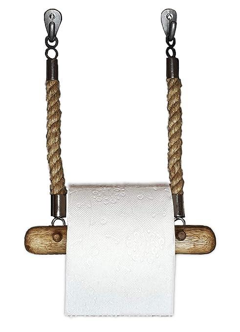 Dekazia Toilettenpapierhalter Mit Jute Seil Mango Holz Klopapierrollenhalter Für Wcbadezimmer 100 Fest Durch Bohren Und Schrauben Vintage