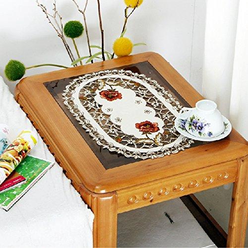 yazi Peony Flower Embroidered Oval Fabric Cutwork Thanksg...