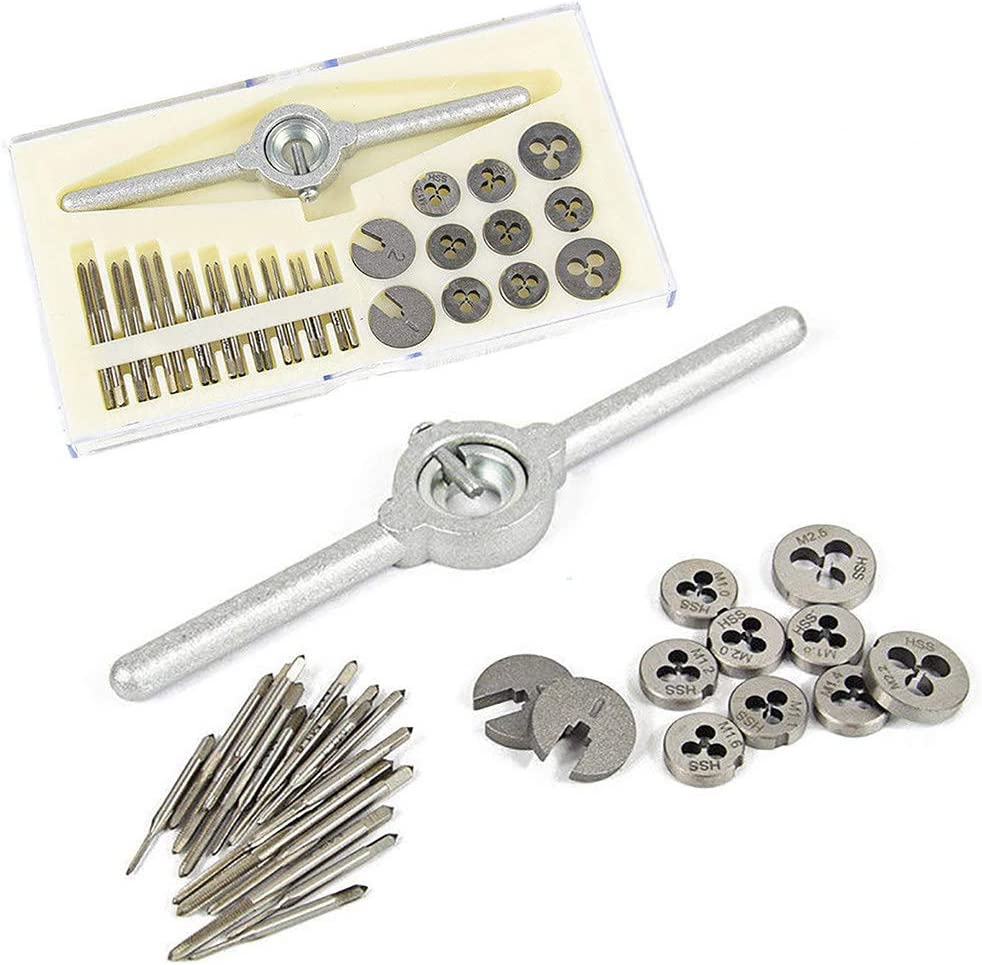 Cengjilosk 31Pcs Screw Thread Tapping Tool with Case Mini HSS Metric Tap And Die Wrench Threading M1-M2.5 Set