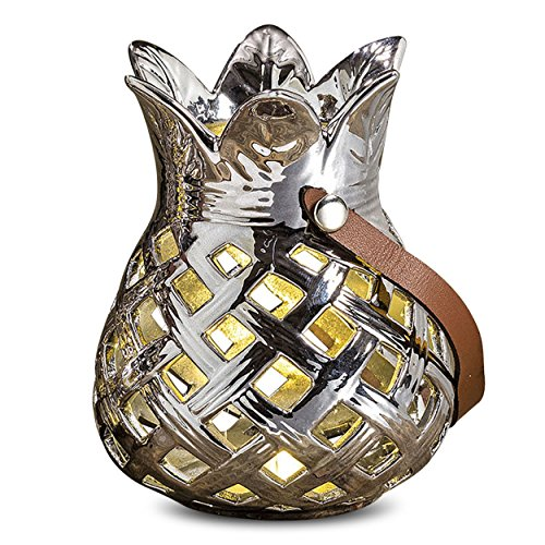 - WHW Whole House Worlds Key West Silver Pineapple, LED Lantern, Porcelain, Faux Leather Handle, Bright Light, 1.5 V Button Battery Included, 4 3/4 Inches Tall from The Tropical Collection