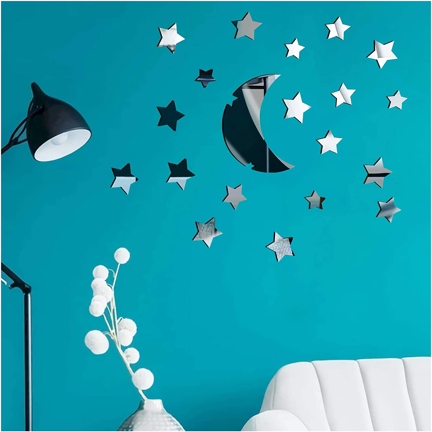 22Pcs Silver Moon Stars Acrylic Mirror Wall Stickers, Self Adhesive Mirror Sheets Sticker, Non Glass Mirror Tiles for DIY Home Bedroom Wall Decor (Moon Stars)