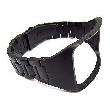 YPYS Negro Correa de Acero Inoxidable Reloj para Samsung Galaxy Gear S R750 SmartWatch Bandas de Muñeca Pulsera De Metal De Repuesto, Negro
