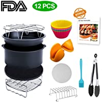 XL Air Fryer Accessories, Lesgos 8 Inch Set Of 12 PCS Deluxe Deep Fryer Accessories With Recipe Cookbook For Gowise Phillips Cozyna Airfryer XL, Fit All 4.2-5.8QT