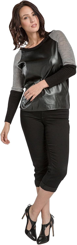 Miss Halladay Women Fine Gauge Raglan Sweater Vegan Leather Color Block Front