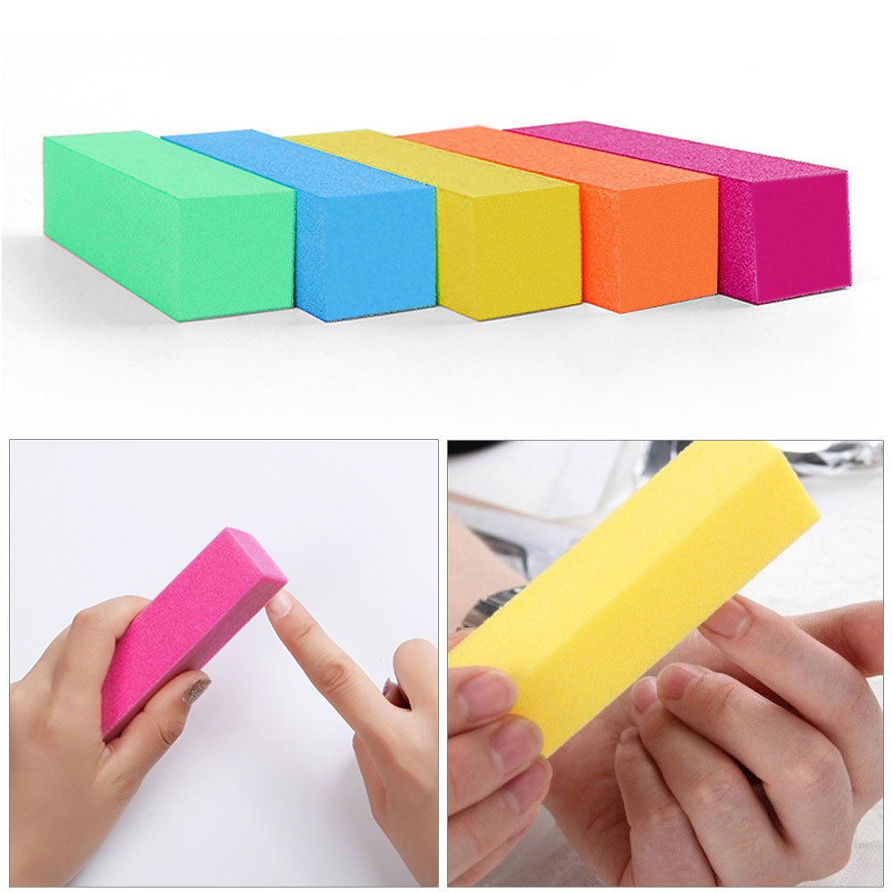 10 Pack Buffer Sanding Block Files Grit Manicure Nail Art Tips Tool (5 colors) dailymall