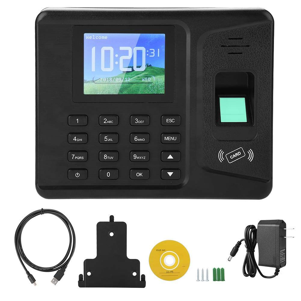 Fingerprint Time Attendance Machine 2.8 Inch TFT Finferprint Password Employee Check-in Payroll Recorder Access Control Clock Recorder, Support USB Flash Drive (US) by ASHATA