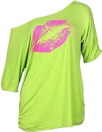 Smile Fish Camiseta informal de gran tamaño con estampado de labios sexy para mujer