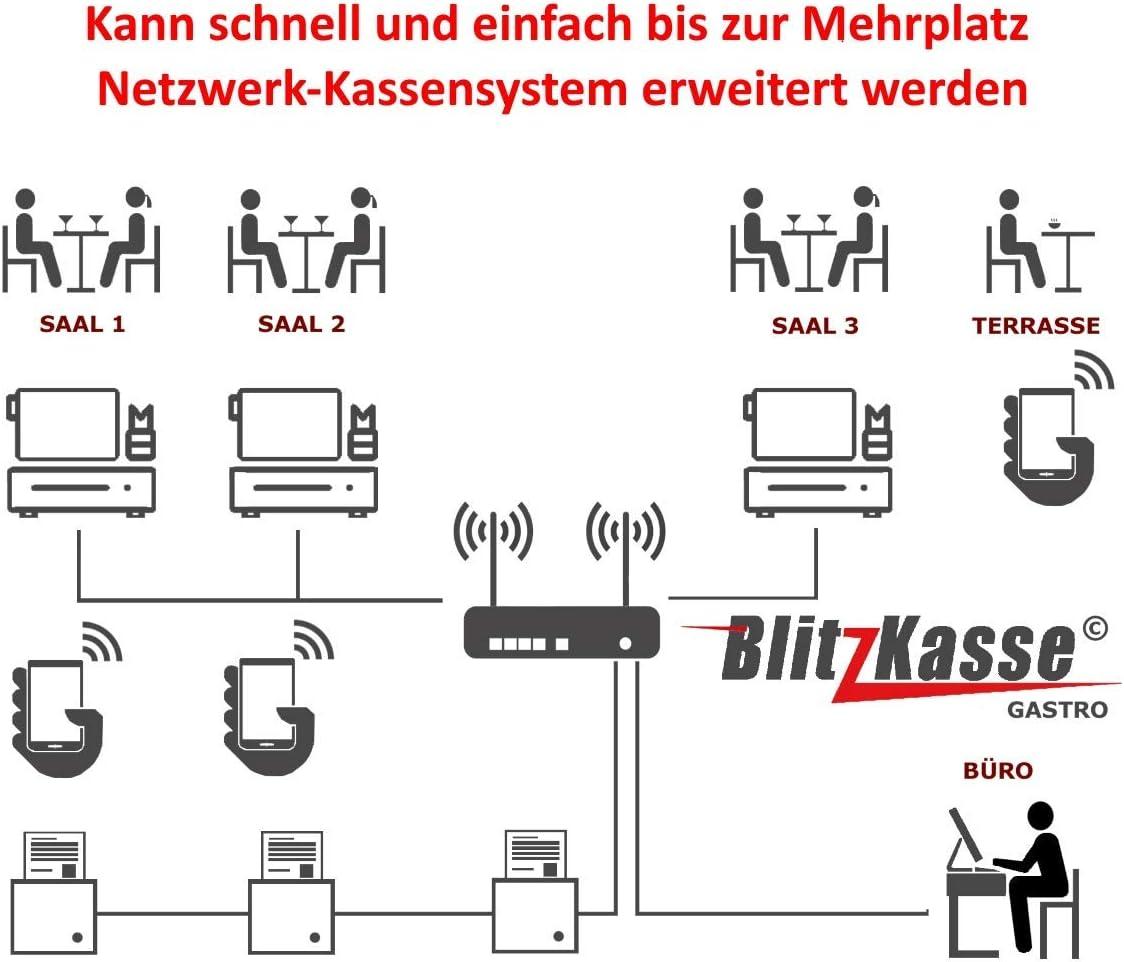 GoBD Biergarten 2x Bondrucker TSE-Konform 15 GASTRO Kassensystem mit 2x 7 Bestellterminal GdPDU f/ür Restaurant Cafe Hauptkasse