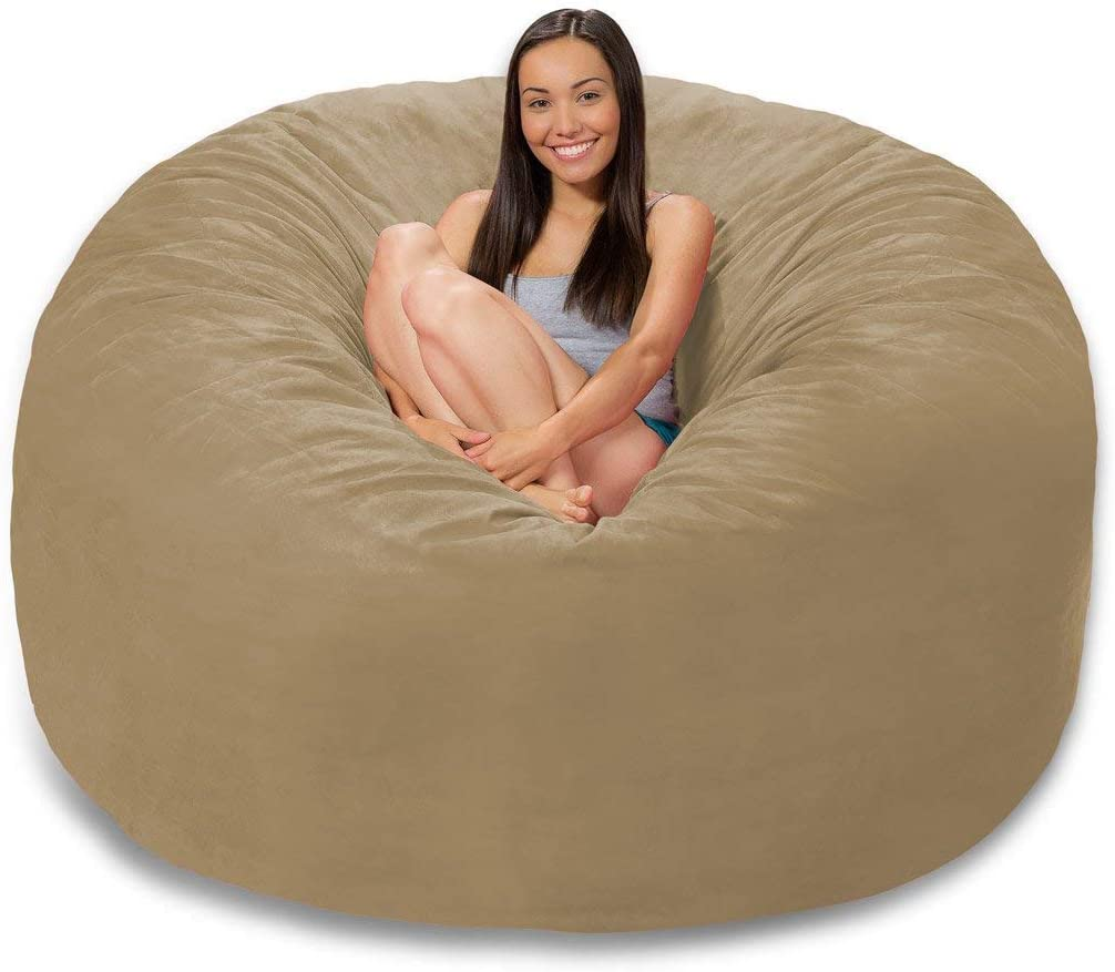 4 ft Bean Bag Chair Cover Only, Large Washable Furniture Bean Bag Replacement Cover Without Bean Filling by Ink Craft (Beige)