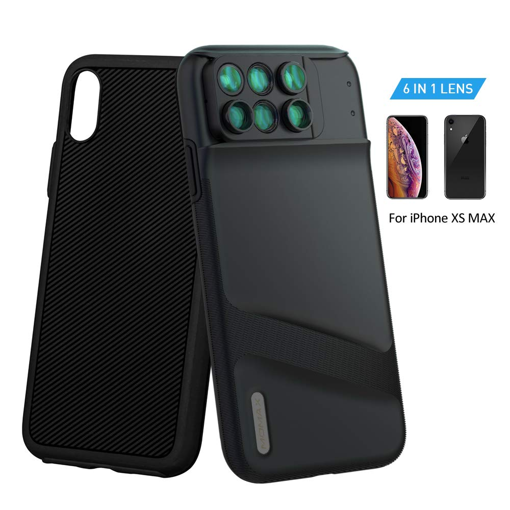 MOMAX Lens Case for Apple iPhone Xs MAX: 6 in 1 Dual Optics Lens Kit (180°Fisheye, 2X Telephoto,120° Wide-Angle, 10X/20X Macro), Two Layers Double Protection (Black)