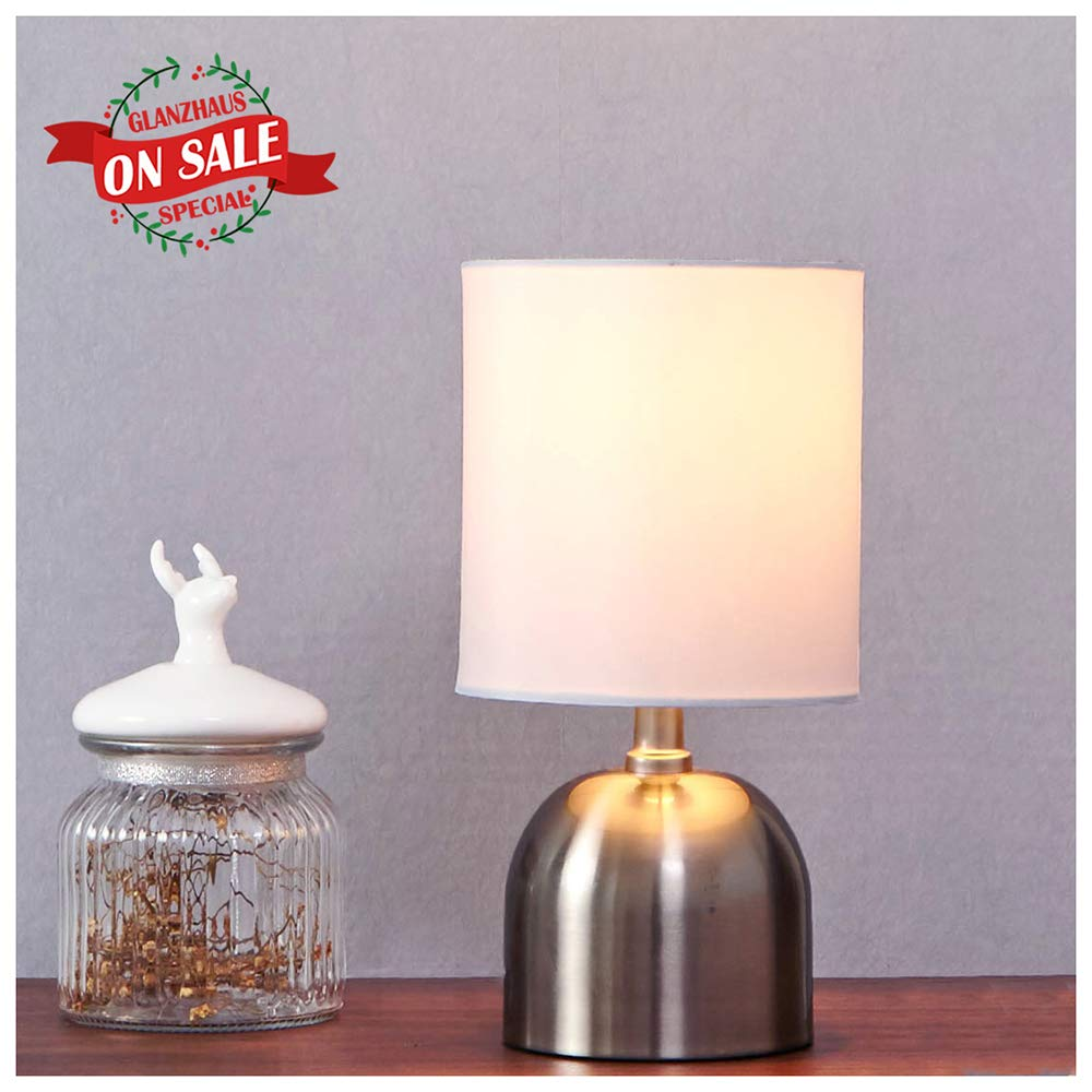 GLANZHAUS Modern Style Brushed Nickel Finish Base White Fabric Shades Beside Small Table Lamp, Desk Lamp 11''H for Living Room and Bedroom