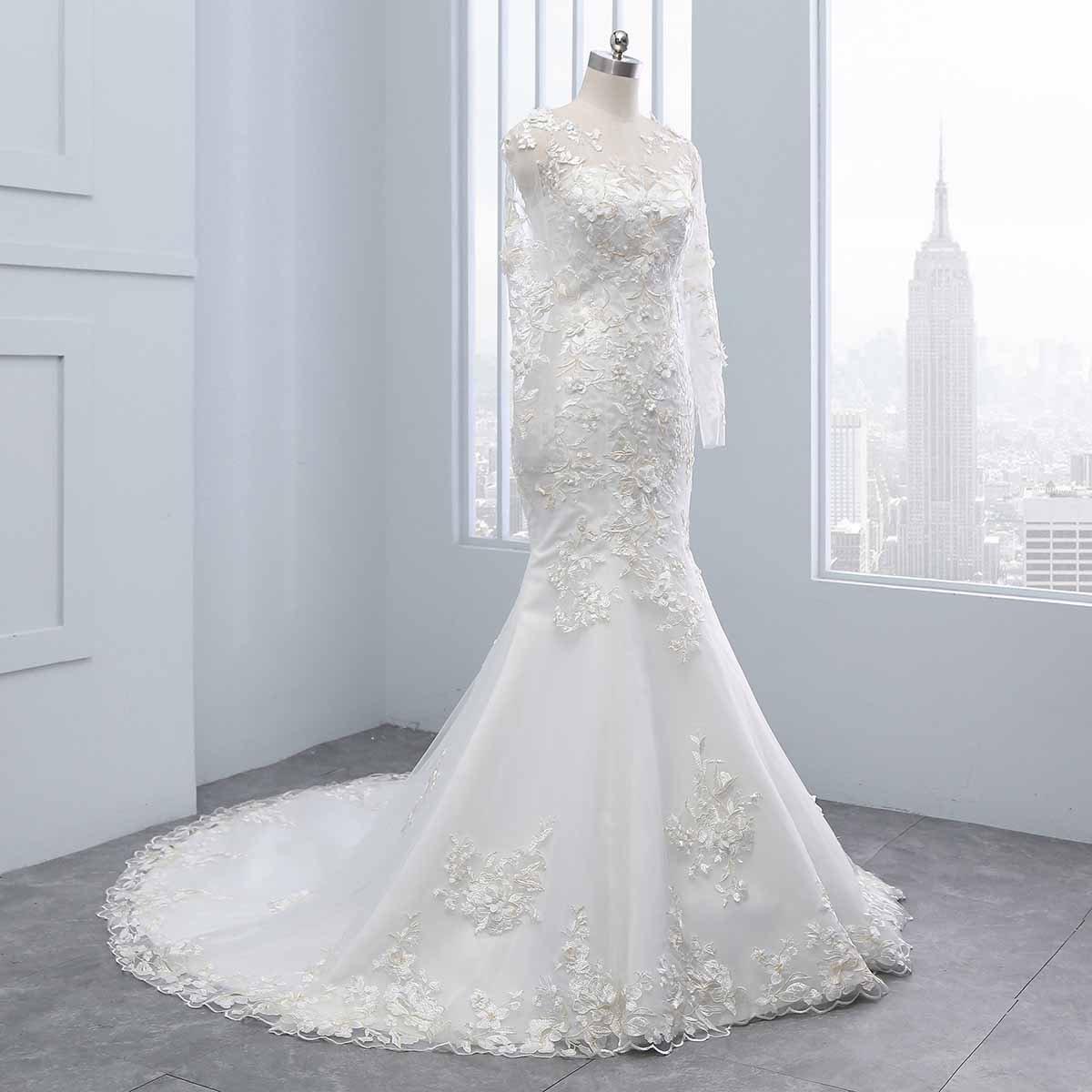 Yinyinhs Women\'s Jewel Mermaid Wedding Dresses Lace Appliques Chapel ...