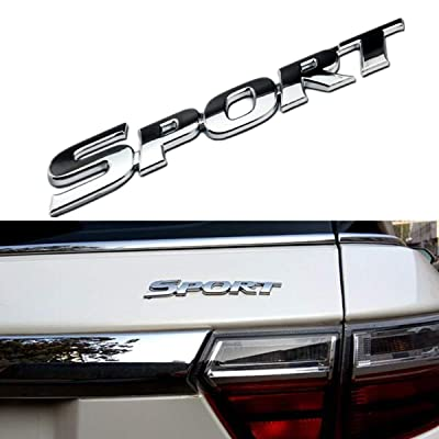 Wesport 3D Metal SPORT Premium Car Side Fender Rear Trunk Emblem Badge Decals for Any Clean Flat Surface - vehicle, Boor Body, Boot, Etc (Orthodox silver): Automotive