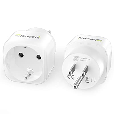 2 x New Travel Adapter//Plug in convert 220v to 110v Adapter Home Office EU to US