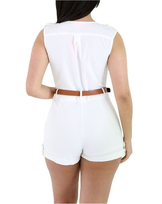 Rainlife V-Neck High Waist Playsuits BeltSolid Sleeveless Rompers White S