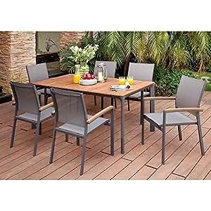 Theberton Mesa de comedor, 6 sillas de brazo en aluminio, patio exterior