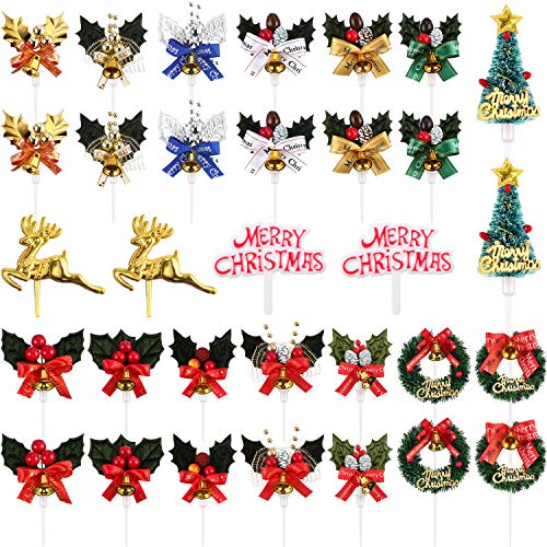 Jovitec Christmas Cake Topper Cupcake Tree Wreath Holly Berries Reindeer Table Centerpieces Sticks in 16 Styles for Christmas Winter Forest Theme Diorama Scenery Birthday Party Favor (32 Pieces)