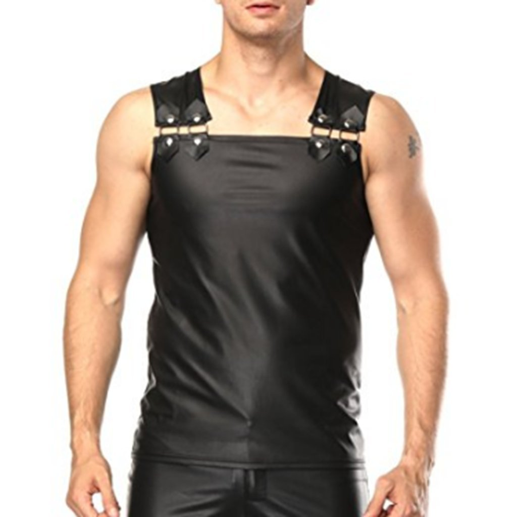 CHICTRY Men's Faux Leather Tank Top Muscle Vest Clubwear Shirt