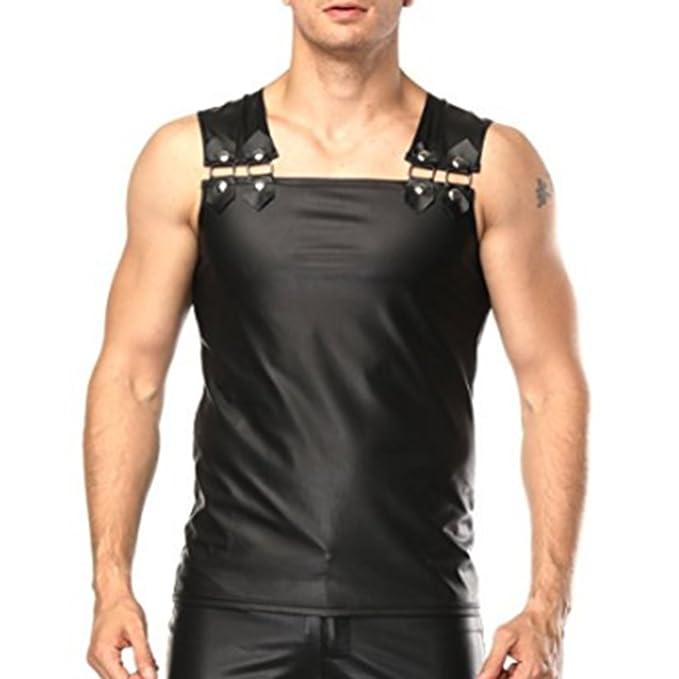 7750e9b5 CHICTRY Men's Patent Faux Leather Tank Top Muscle Vest Clubwear Shirt Black  Medium