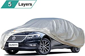 GUNHYI Sedan Car Covers for Automobiles All Weather Waterproof, Outdoor Sun Rain Snow UV Protection, Universal Fit Sedan Coupe Station Wagon 191 to 208 Inch