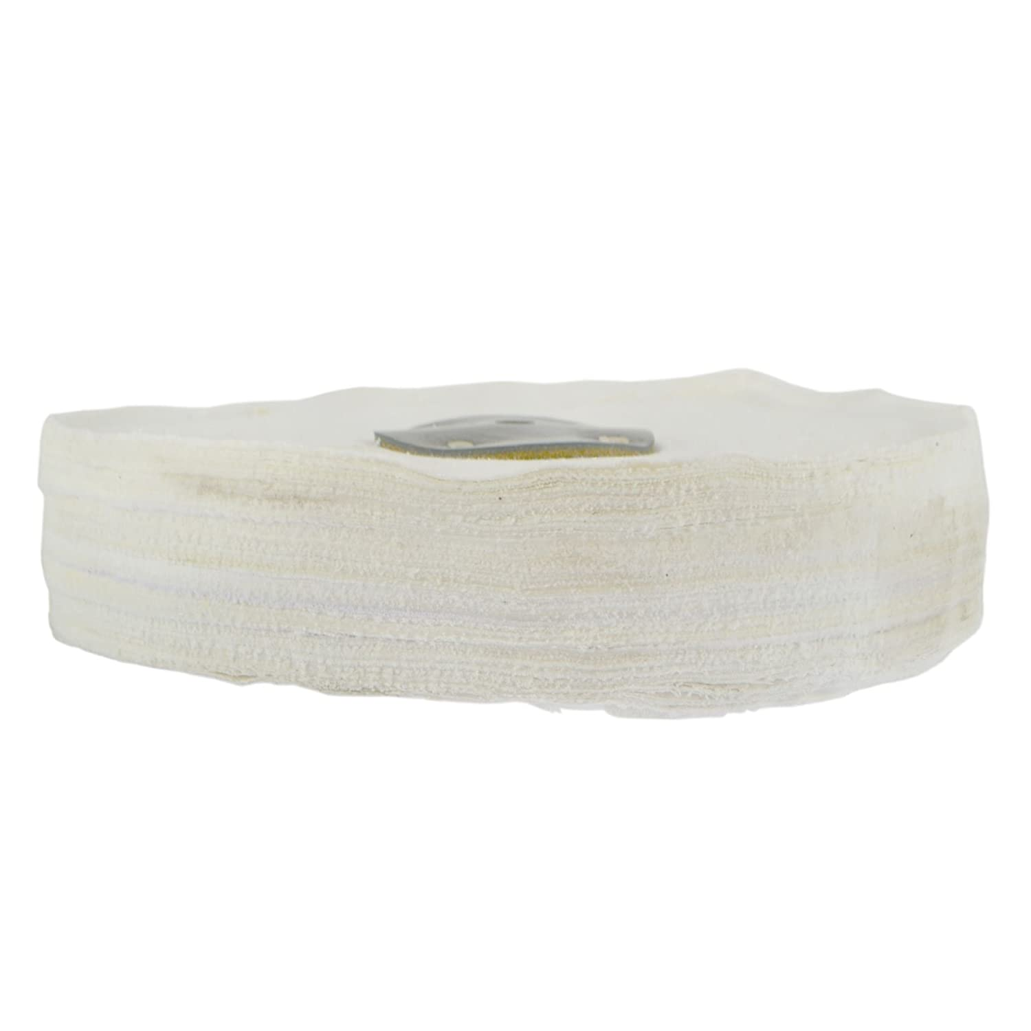 White Close Stitched Polishing Buffing Mop 10 x 2 4 Row With Compound 250g