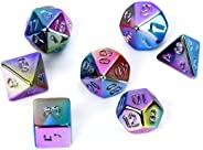 FLASHOWL Acrylic Plating Metal Dice 7-Color DND Dice Set Rainbow Dice for Dungeons and Dragons, Table Game and Role Playing