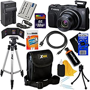 Canon PowerShot SX710 HS 20MP Wi-Fi Digital Camera with 30x Zoom & HD 1080p video, Black (International Version) + Battery & AC/DC Charger + 11pc 32GB Dlx Accessory Kit w/HeroFiber Cloth